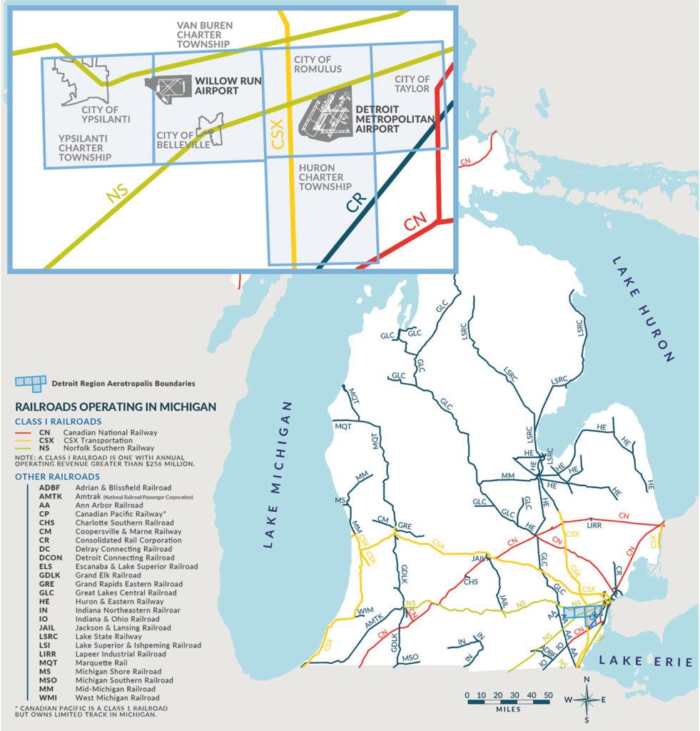 Detroit Region Aerotropolis Railroad Map