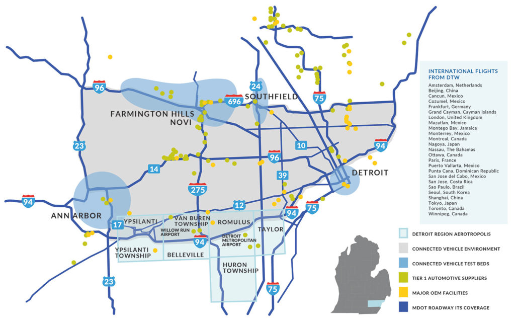Detroit Region Aerotropolis Connected Corridors Map
